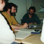 Roger Blum und Erwin Koch in einem Seminar 1996