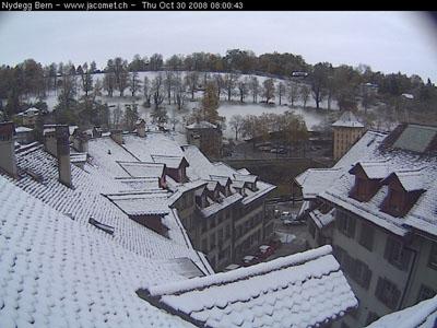 Oktoberschnee in Bern (Webcam jacomet.ch, 30. Oktober 2008 - Klicken für Livebild)