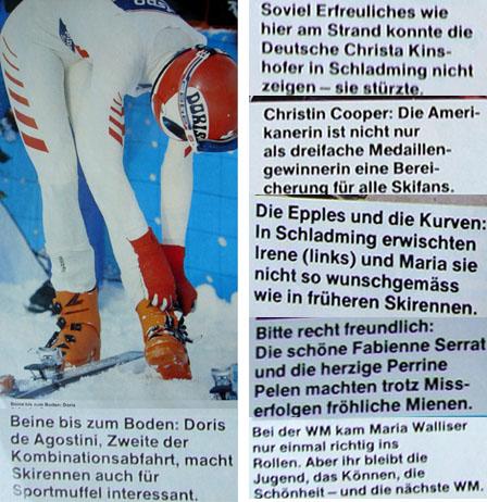 Beilage zur Ski-WM 1982 der Schweizer Illustrierten mit haarsträubenden Bildlegenden