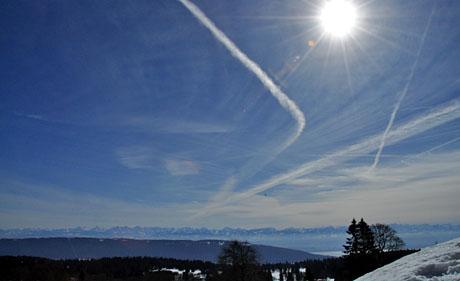 Panorama von der Vue des Alpes, 27.2.2010