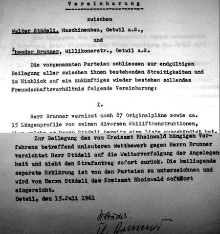 Versöhnungsversuch zwischen Walter Städeli und Theo Brunner, März 1961 - klicken für vollständige Fassung