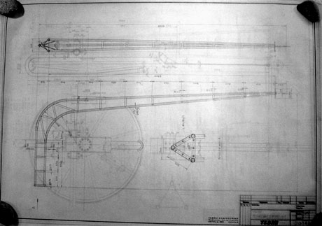 Plan von Theo Brunner: Rohrmast (1954); dieser Typ wurde auch in La Corbatière verwendet (Nachlass Theo Brunner / Archiv Andi Jacomet)