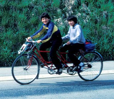 Tanner und Andi unterwegs nach Olten - per Tandem (Mai 1984)