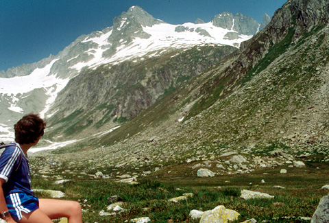 Sommer 1985: Blick zurück auf den soeben bezwungenen Oberalpstock