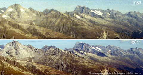 Gletschervergleich Oberalpstock und Tödi 1983-2011 - klicken für grosse Fassung