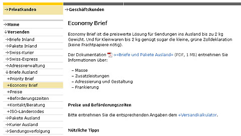 Usability auf der Post-Website anno 2011: Mangelhaft