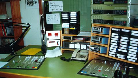 Live-Studio von Radio Raurach in Sissach, 1989