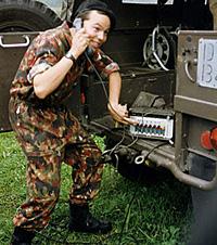 Rekrut Blöker an der Telefonzentrale 85 (Sommer 1992)