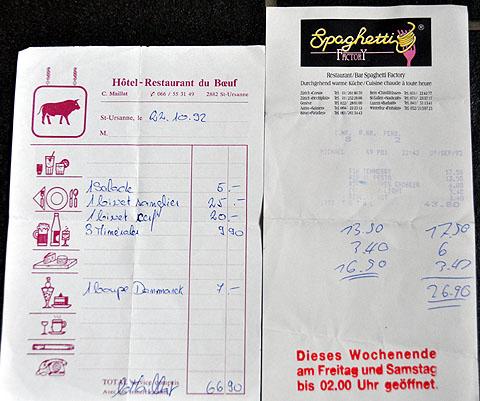 Rechnungen von Fak-Ausgängen ausserhalb des erlaubten Rayons von 1992