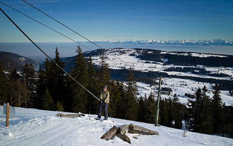 Skifahren im Valle de Joux, Januar 2012