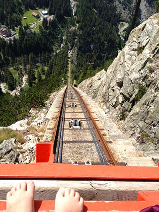 Auf der Gelmerbahn an der steilsten Stelle