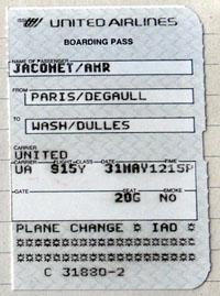 Mein Boarding Pass für den ersten Hopser über den Atlantik seit 1982