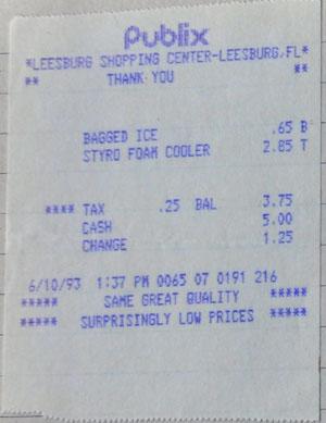 Einkaufszettel von irgendwo in Florida, 10.6.1993
