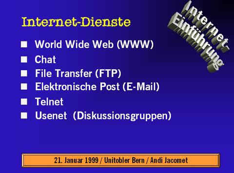 Folie aus der Präsentation vom Januar 1999 in einem sensationellen Design