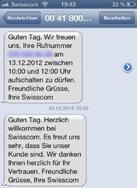 Willkommens-SMS bei Swisscom: Man weiss stets, was wann luft