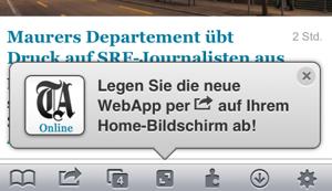 Spam-artige Meldung bei jedem Besuch der mobilen TA-Website - mit Pfeil aufs falsche Icon