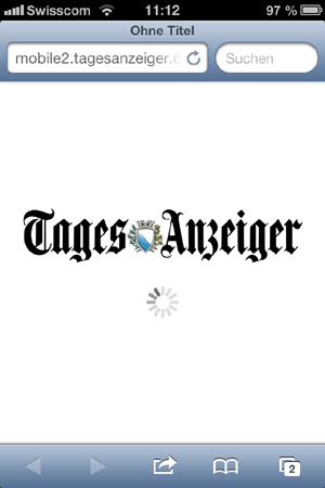 Mühsam und nervig: Mobile Fassung der Tagi-Website