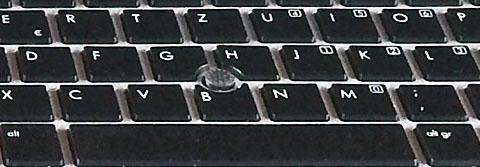 Mühsam, aber zu überleben: Trackpoint mitten auf der Tastatur