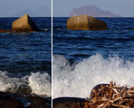 Stromboli (links) und Panarea aus Lingua (Salina) aus gesehen, September 2007