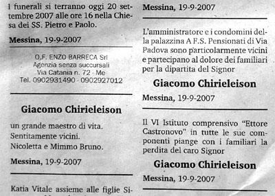 Todesanzeige aus der Gazetta del Sud, September 2007