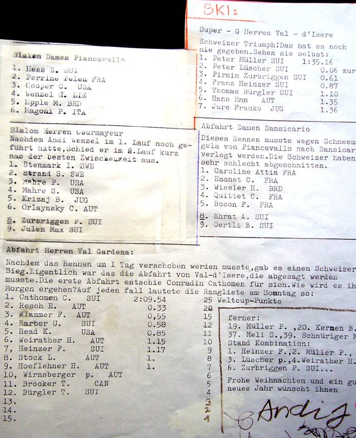 Ski-Resultate aus dem Dezember 1982
