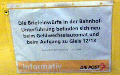 Kein Briefkasten mehr beim Treffpunkt im HB Bern (November 2008)