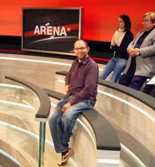 Der Blöker in der Arena-Testsendung (August 2008)