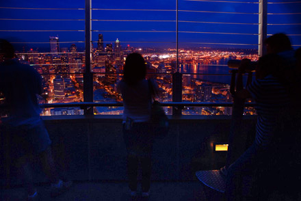 Space Needle, Seattle by night, August 2008