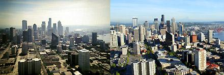 Aussicht von der Space Needle auf Downtown Seattle, August 1996 und August 2008 - Klicken für grosse Fassung