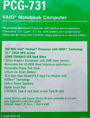 Sony Vaio PCG-731, gekauft in Kalifornien im August 1998 (August 2008)
