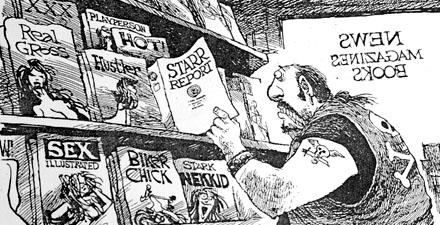 Karikatur rund um den Starr Report (September 1998)