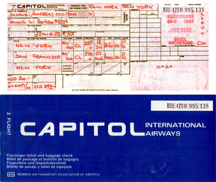 Flugticket nach San Francisco anno 1982