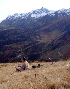 Arbeiten in der Natur - sehr inspierend! (Oberalppass/Calmut, Oktober 2008)