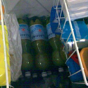 Süssmost im Tiefkühler - einfach am Abend eine Flasche rausnehmen und am Morgen unverfälschten Apfelsaft frisch ab Presse geniessen (Oktober 2008)