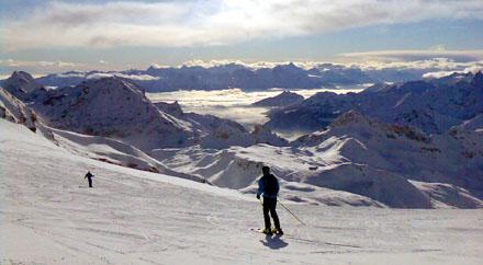 Skisaisonstart 2008 in Zermatt - herrliche Pisten bis nach Cervinia hinunter (24. November 2008, Ventina)