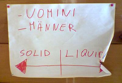 Klare Anweisungen für grosses und kleines Geschäft (WC Testa Grigia, November 2008)