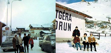 Winterferien 1968 in Sedrun; links vor dem früheren Geschäft der Bäckerei Schmid, rechts vor der 2006 abgerissenen Sesselbahn Cungieri