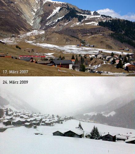 Sedrun mit wenig und viel Schnee fast zur gleichen Jahreszeit (März 2007 und 2009)
