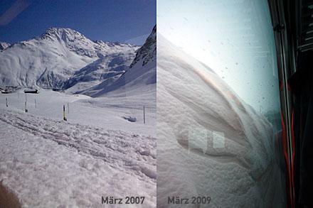 Am Oberalppass (März 2007 und 2009)