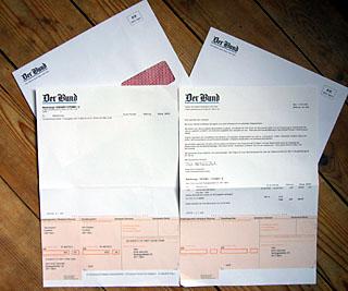 Hanebüchen-schildbürgerstreichige Rechung für das Bund-Abo (März 2009)
