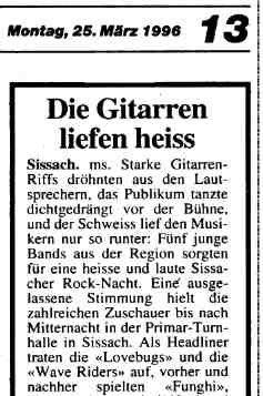 Zeitungsartikel zum Rockfestival Sissach (März 1996) - Quelle: Archiv Andi Willen