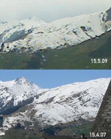 Vergleich der Schneelage im Skigebiet Milez 15. April 2007 - 15. Mai 2009: Fast identisch