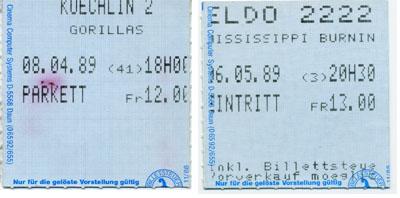 Basler Kinotickets von 1989