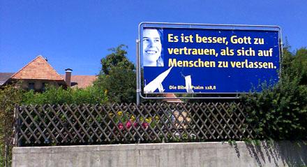 Wirrkopf-Plakat im Emmental, Juli 2009