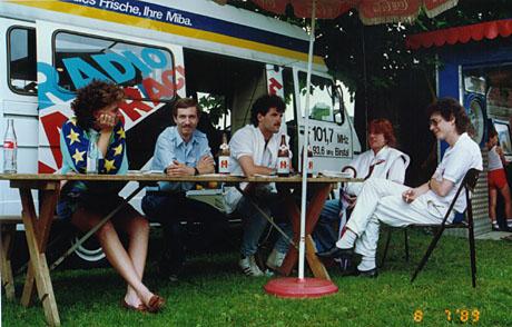 Radio Raurach am Grümpeli Breitenbach, Sommer 1989 (mit Meinrad Stöcklin, René Hänggi, René Häfliger und Christoph Steinmann)