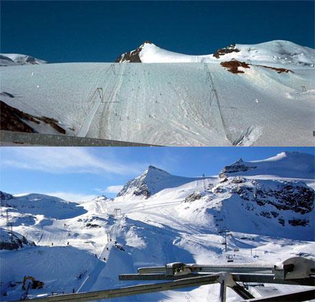 Theodulgletscher in Zermatt 1981 und 2008