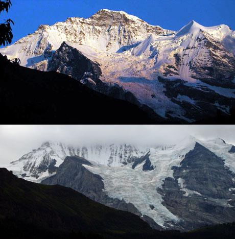 Jungfrau und Silberhorn 2001 und 2009