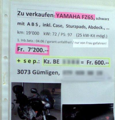 Nur von Frau gefahren - Töff-Verkaufs-Inserat in Bern