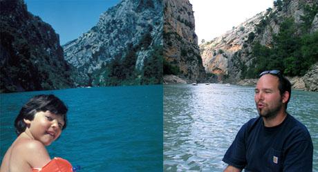 Der Autor am Pedalofahren auf dem Lac de Ste-Croix, links mit Schwimmflügeli im Juli 1980, rechts im September 2009