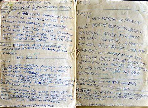Tagebuch der Herbstferien 1979 im Unterengadin (Klicken für grössere Fassung)